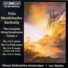 Felix Mendelssohn Bartholdy (1809-1847): Streichersymphonien Nr.4,5,8, CD