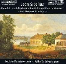 Jean Sibelius (1865-1957): Jugendwerke für Violine & Klavier Vol.1, CD