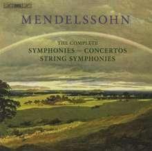 Felix Mendelssohn Bartholdy (1809-1847): Sämtliche Symphonien/Streichersymphonien/Konzerte, 11 CDs