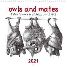 Stefan Kahlhammer: owls and mates 2021 (Wall Calendar 2021 300 × 300 mm Square), Kalender