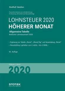 Tabelle, Lohnsteuer 2020 Höherer Monat, Buch