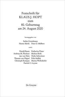 Festschrift für Klaus J. Hopt zum 80. Geburtstag am 24. August 2020, Buch