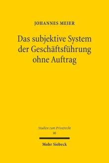 Johannes Meier: Das subjektive System der Geschäftsführung ohne Auftrag, Buch