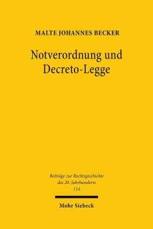 Malte Johannes Becker: Notverordnung und Decreto-Legge, Buch