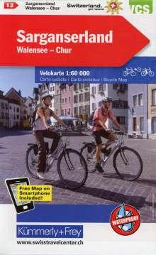 KuF Schweiz Radkarte 13 Sarganserland - Walensee - Chur 1 : 60 000, Diverse