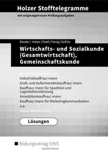 Volker Holzer: Holzer Stofftelegramme Wirtschafts- und Sozialkunde (Gesamtwirtschaft), Gemeinschaftskunde, Deutsch. Kompetenzbereiche I-IV: Lösungen. Baden-Württemberg, Buch