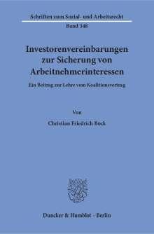 Christian Friedrich Bock: Investorenvereinbarungen zur Sicherung von Arbeitnehmerinteressen., Buch