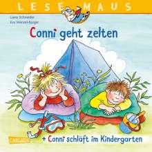 """Liane Schneider: LESEMAUS 205: """"Conni geht zelten"""" + """"Conni schläft im Kindergarten"""" Conni Doppelband, Buch"""