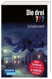 Kari Erlhoff: Die drei ???: Schattenwelt (Dreifachband. Enthält die Bände: Teuflisches Duell, Angriff in der Nacht, Die dunkle Macht), Buch