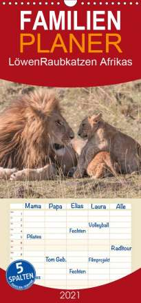 Andreas Lippmann: Löwen - Raubkatzen Afrikas - Familienplaner hoch (Wandkalender 2021 , 21 cm x 45 cm, hoch), Kalender