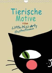 Juliane Mertens Eckhardt: Tierische Motive von Little Miss Arty Illustrationen (Wandkalender 2022 DIN A4 hoch), Kalender