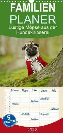 Kathrin Köntopp: Lustige Möpse aus der Hundeknipserei - Familienplaner hoch (Wandkalender 2022 , 21 cm x 45 cm, hoch), Kalender