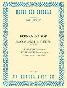 Fernando Sor: 12 leichte Etüden, Noten