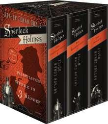 Arthur Conan Doyle: Sherlock Holmes - Sämtliche Werke in drei Bänden - Schuber - Der Hund der Baskervilles, Das Zeichen der Vier, Eine Studie in Scharlachrot, Das Tal des Grauens und sämtliche Erzählungen, Buch
