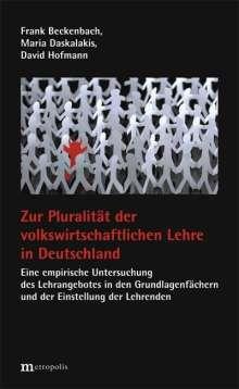 Frank Beckennbach: Zur Pluralität der volkswirtschaftlichen Lehre in Deutschland, Buch