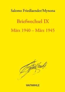 Salomo Friedlaender: Briefwechsel IX, Buch