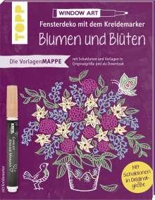 Susanne Kuhlendahl: Vorlagenmappe Fensterdeko mit dem Kreidemarker - Blumen und Blüten. Inkl. Original Kreidemarker von Kreul und Schablonen, Buch