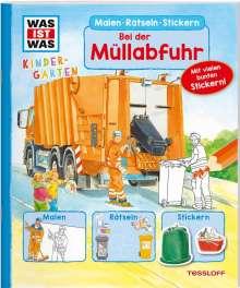 Tatjana Marti: WAS IST WAS Kindergarten Malen Rätseln Stickern Bei der Müllabfuhr, Buch
