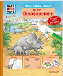 Tatjana Marti: WAS IST WAS Kindergarten Malen Rätseln Stickern Bei den Dinosauriern. Malen, Rätseln, Stickern, Buch