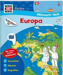 Tatjana Marti: WAS IST WAS Junior Mitmach-Heft. Europa. Spiele, Rätsel, Sticker, Buch