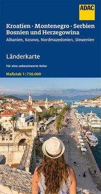ADAC LänderKarte Kroatien, Montenegro, Serbien, Bosnien u. Herzegowina 1:750 000, Diverse