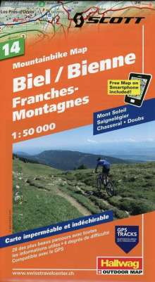 Mountainbike Map 14 Biel / Bienne, Franches-Montagnes 1 : 50 000, Diverse