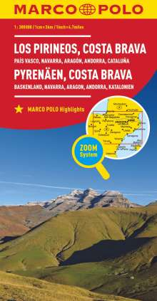 MARCO POLO Karte Spanien Pyrenäen, Costa Brava 1:300 000, Diverse