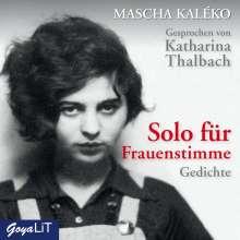 Mascha Kaléko: Solo für Frauenstimme. Gedichte, CD