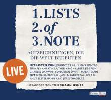 Lists of note - live, 2 CDs