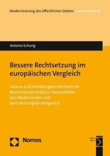 Antonia Schurig: Bessere Rechtsetzung im europäischen Vergleich, Buch