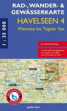 Rad-, Wander- und Gewässerkarte Havelseen 4: Wannsee bis Tegeler See, Diverse