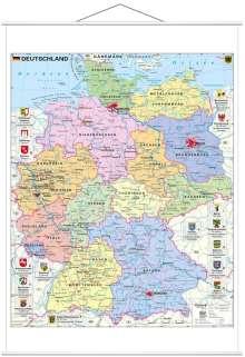 Heinrich Stiefel: Deutschland politisch mit Wappen 1 : 700.000. Wandkarte mit Metallbeleistung, Diverse