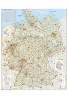 Heinrich Stiefel: Verkehrswegekarte Deutschland. Wandkarte mit Metallbeleistung gerollt im Kunststoffrohr, Diverse