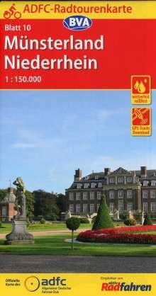 ADFC-Radtourenkarte 10 Münsterland Niederrhein 1:150.000, reiß- und wetterfest, GPS-Tracks Download, Diverse