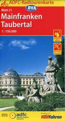 ADFC-Radtourenkarte 21 Mainfranken Taubertal 1:150.000, reiß- und wetterfest, GPS-Tracks Download, Diverse