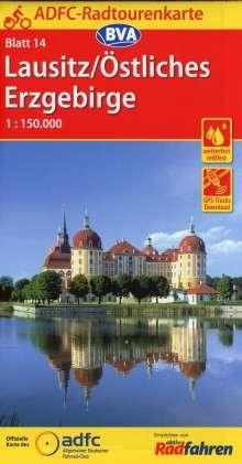 ADFC-Radtourenkarte 14 Lausitz /Östliches Erzgebirge 1:150.000, reiß- und wetterfest, GPS-Tracks Download, Diverse