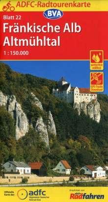 ADFC-Radtourenkarte 22 Fränkische Alb Altmühltal 1:150.000, reiß- und wetterfest, GPS-Tracks Download, Diverse