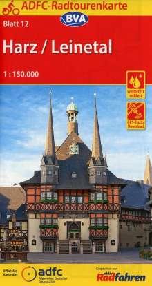ADFC-Radtourenkarte 12 Harz /Leinetal 1:150.000, Diverse