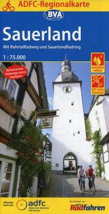 ADFC-Regionalkarte Sauerland mit Tagestouren-Vorschlägen, 1:75.000, Diverse