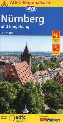 ADFC Regionalkarte Nürnberg und Umgebung mit Tagestouren-Vorschlägen, 1:75.000, Diverse