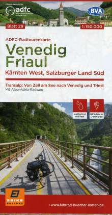 ADFC-Radtourenkarte 29 Venedig, Friaul - Kärnten West, Salzburger Land Süd, 150.000, Diverse