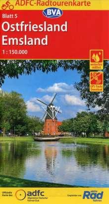 ADFC-Radtourenkarte 5 Ostfriesland / Emsland 1:150.000, Diverse