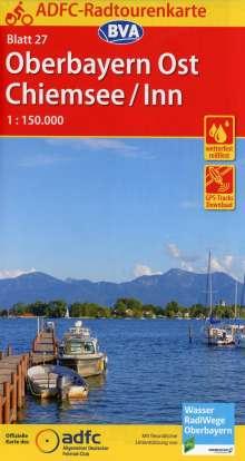 ADFC-Radtourenkarte 27 Oberbayern Ost / Chiemsee / Inn 1:150.000, reiß- und wetterfest, GPS-Tracks Download, Diverse
