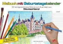 Veronika Aretz: Malbuch mit Geburtstagskalender aus Deutschland, Kalender