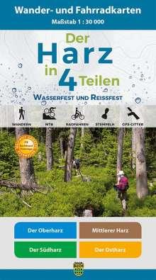Der Harz in 4 Teilen. Fahrrad- und Wanderkartenset 1 : 30 000, Diverse