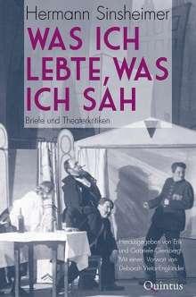 Hermann Sinsheimer: Was ich lebte, was ich sah, Buch