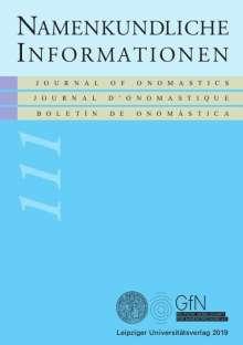 Inga Siegfried-Schupp: Namenkundliche Informationen 111, Buch