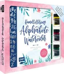 Martina Johanna Janssen: Handlettering Alphabete Watercolor - Das Starter-Set - Feine Buchstaben mit Pinsel und Brush Pen, Buch