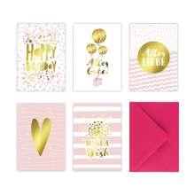 Lisa Wirth: 5 Geburtstagskarten im Set inkl. Umschläge in pink. Rosa Glückwunschkarten zum in DIN A6 mit edler Folienprägung in Gold. Klappkarten zum Geburtstag, Hochzeit, Geburt, Firmung, Konfirmation, Buch