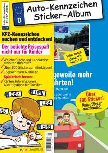 Philipp Gesierich: Kinder-Reisespiel KFZ-Kennzeichen Sticker-Sammelalbum fürs Handgepäck, Mitmachbuch für die Ferien, Ratespaß unterwegs auf Reisen, Beschäftigung für Kinder bei langen Autofahrten, Buch